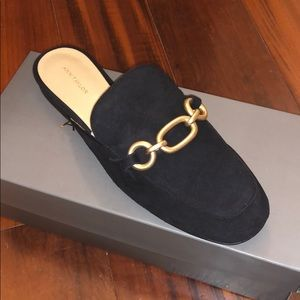 NWT Ann Taylor Camilla Suede Chained Slide Loafer